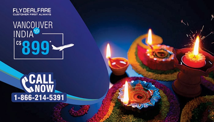 DIWALI TRAVEL DEALS : CANADA TO INDIA ROUND TRIP FLIGHT STARTS FROM C$899*
